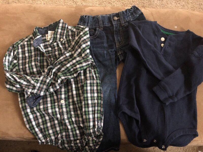 Gymboree Jeans Toddler Boy 2 One Piece Long Sleeves Osh Kosh  2t 24 Months