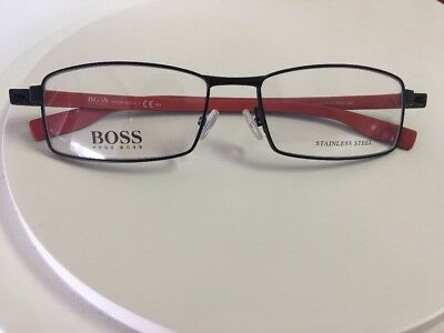 NEW HUGO BOSS Eyeglasses 0609 FQA Black Red Orange 56 MM Metal Frame Nose Pads