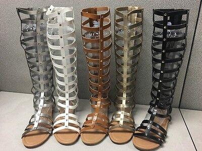 New Fashion Alyssa 26  Sandwomens Caged Knee High Gladiator Flat Sandals 6 10