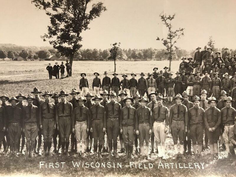 WW1 Historic Panoramic Photo of 1st Wisconsin Field Artillery Piggly Wiggly Seal