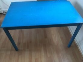 IKEA Pine 4 person Table INGO Painted Blue and used - Table, pine 120x75 cm
