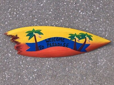 WELCOME 24' TIKI BAR TROPICAL SIGN WALL HANGING ART ISLAND HOME DECOR Bar Sign 24' Tropical Decor