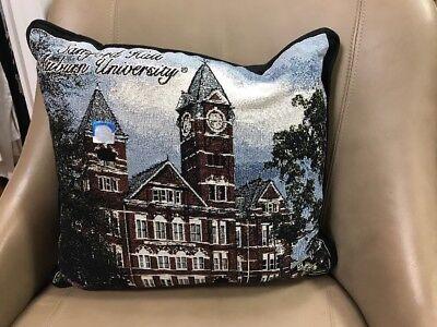 Auburn Tigers Throw Pillow - Auburn University Tigers Samford Hall Cotton Woven Tapestry Throw Pillow NEW USA