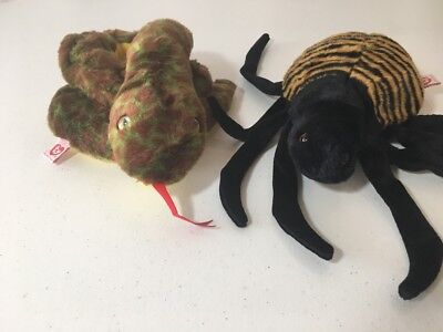774cfbb69b9 LOT of 2 - Slither the Snake Ty Beanie Buddy 1999   Spinner the Spider  Original