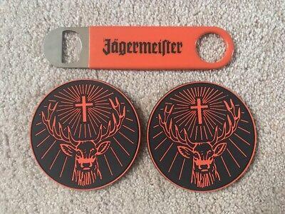 JAGERMEISTER BOTTLE OPENER & COASTER SET BAR BEER LIQUOR