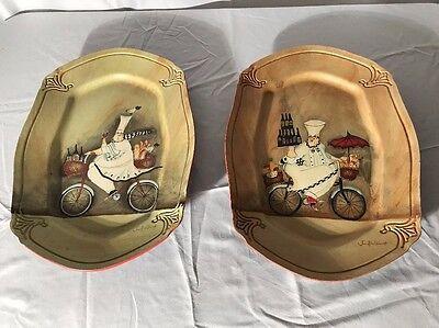 2 Tamsan Decorative wood plates Italian cafe wine bicycle theme 14