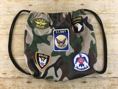 Military Army Theme Cinch Sack Backpack Camo Navy Air Force Marine Seal Top Gun