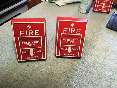 Lot Of 2 Cerberus Pyrotronics Fire Alarm Pull Station Msi-10b Non Coded Box