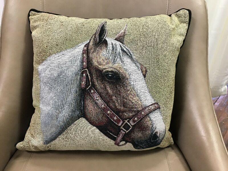 "Pinto Horse head white brown Woven Cotton Tapestry Accent 17"" Throw Pillow NEW"