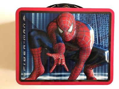 Tin Metal Lunch Snack Toy Box Embossed Spider-Man Building Web Slinger NEW