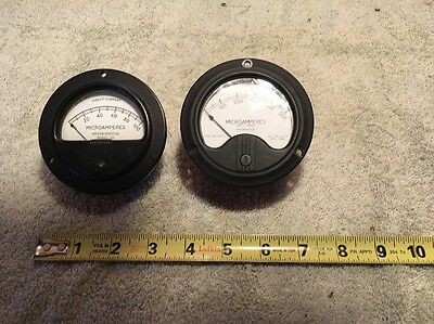 2 Diff. Vintage Westinghouse Panel Meter Dc Microamperes Lot Me 5