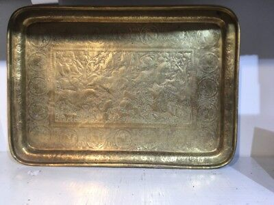 Antique Persian Brass Hand Hammered Tray