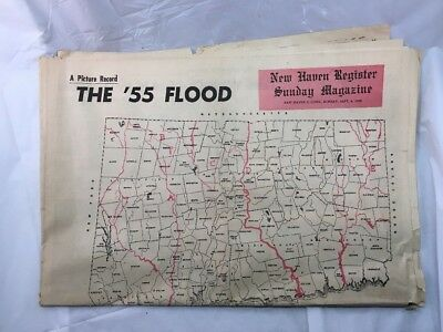 New Haven Evening Register Sunday Newspaper Connecticut September 4 1955 Flood