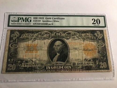 1922 $20 GOLD CERTIFICATE  PMG 20 Fr 1187   Speelman White