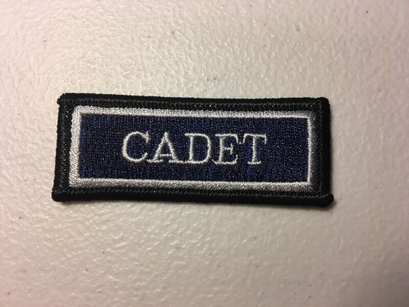 """Police / Fire Cadet Embroidered Patch Blue Black Silver 1"""" X 2.75"""""""