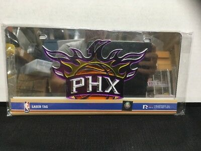 Phoenix Suns Laser - Phoenix Suns Silver Deluxe Laser Cut Mirrored License Plate Tag Basketball
