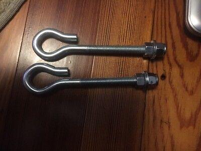 2- Hangerhook Eyeswingtension J Bolts 38 X 4 With Washers Nylon Lock Nut
