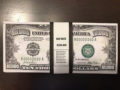 $200,000 In Prop/Play Money 1928 $10,000 Bills USA Actual Size