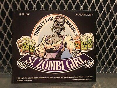 Halloween Beer Labels (ST PAULI GIRL BEER Mock Bottle Label ~ ST ZOMBI GIRL ~ Funny Halloween)