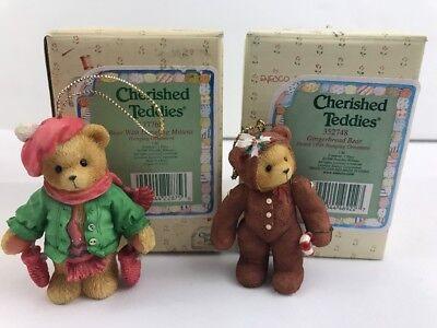 2 Cherished Teddies Hanging Ornaments Priscilla Hillman *Mittens *Gingerbread