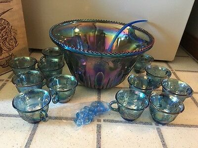 INDIANA Blue Carnival Glass PRINCESS PUNCH SET Bowl 12 Cups Ladle Orig Box