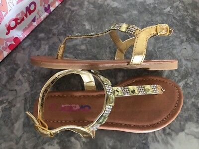 New! Josmo Little Girls Gold Jeweled T Strap Sandals Sz. 12  - Girls Jeweled Sandals