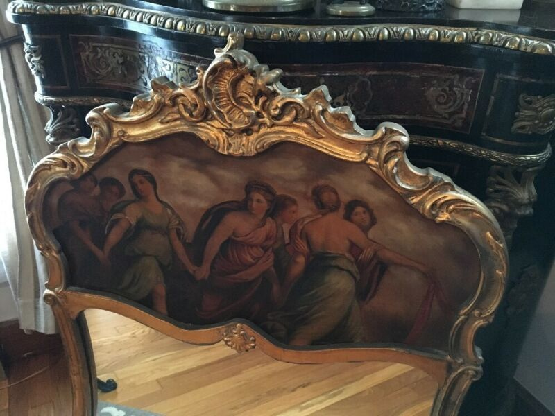 "ANTIQUE FRENCH TRUMEAU MIRROR PARTIALLY NUDE LADIES GILDED 1930s 42"" Tall"