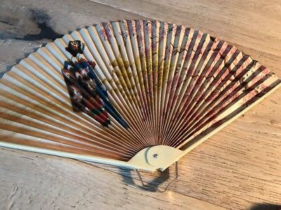 Vintage Celluloid Japanese Asian Hand Fan Rare Hand Painted