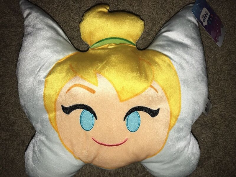 "Disney Emoji Tinkerbell Face Pillow Plush NWT ~13"" x 12"" Travel"