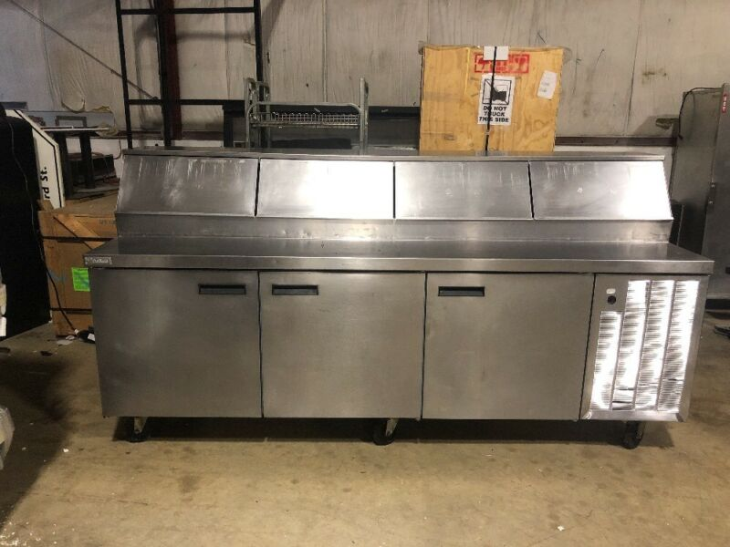 "Delfield 96"" Commercial Pizza Prep Unit Used Prep Table Cooler"
