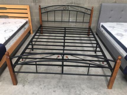 Brand New Metal Bed Frame with Rubber Wood Legs