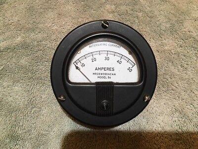 Vintage Radio Panel Meter Simpson 0-50 Amperes Ac Me 276