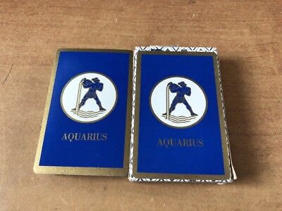 vintage Deck Playing Cards USA blue Aquarius Zodiac Sign Bridge Size never used