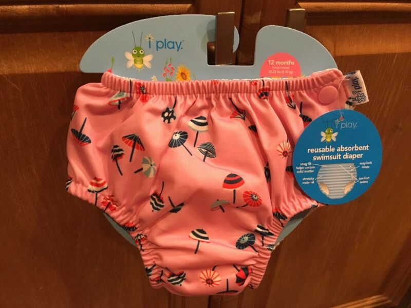 iPlay Reusable Swim Diaper - Pink Parasoles - 12 Months - Snap-Side Swimsuit NWT