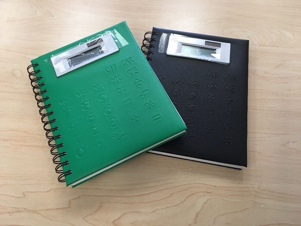 Spiral Notebook with Jumbo Display Calculator Cover (Black And Green)