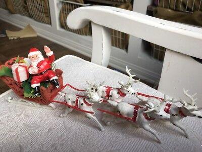 "Vintage Plastic Christmas Santa & Flocked Sleigh w/ 4 Reindeer 13.5"""