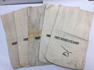5 Vintage First Interstate Bank Cloth Money Coin Bag  Deposit Bag 17 5  X 10 5