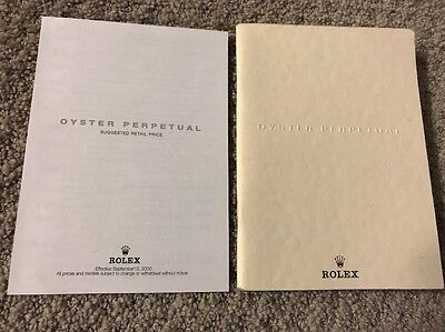 Rolex Oyster Perpetual Wrist Watch Small Catalog Book 43 pages 2000 Price List
