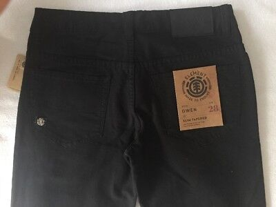 ELEMENT Mens Teen SLIM TAPERED Black Jeans size 28 NWT orig. $64.50