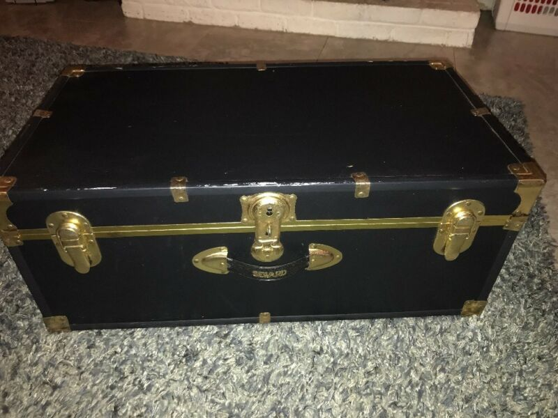Vintage Seward Black Steamer Trunk