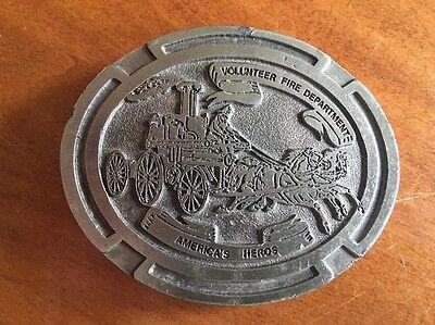 Vintage 'Volunteer Fire Department Belt America's Heros' Firefighter Belt Buckle