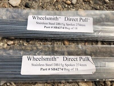 Spokes Silver.180 trough298mm.2mm.straightgauge.Wheelsmith set of 18 spokes