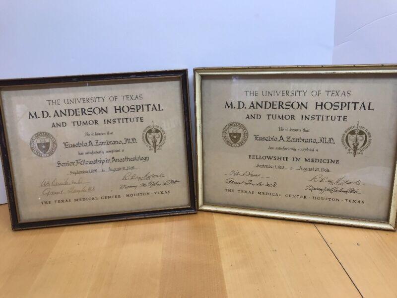 Vintage 1964 M.D. Anderson Diplomas Seal - Doctor Texas Two Fellowship Medicine