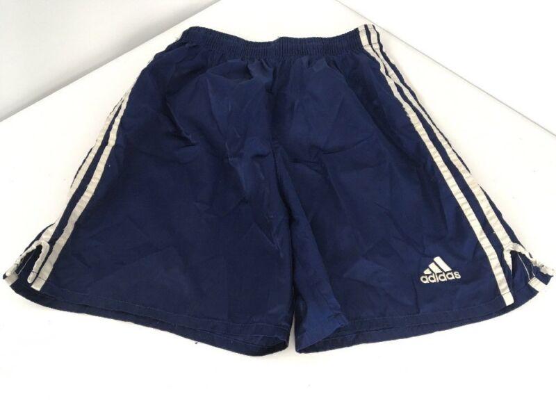 VTG 80s Adidas Blue SATIN Shiny striped soccer futbol shorts Small
