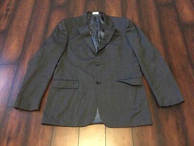 Geoffrey Beene 100% Wool Black Gray Suit Jacket Sport Coat Blazer 44L 39W