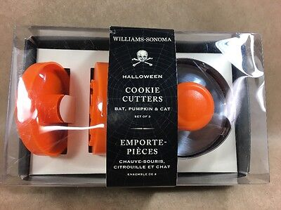 Williams Sonoma - Halloween Cookie Cutter  - Set of 3 - Bat, Cat, - Williams Sonoma Cookie Cutters Halloween