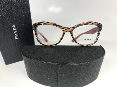New Prada VPR 29R VAN-101 Transparent Orange/Gray Havana Eyeglasses 54mm Box Set