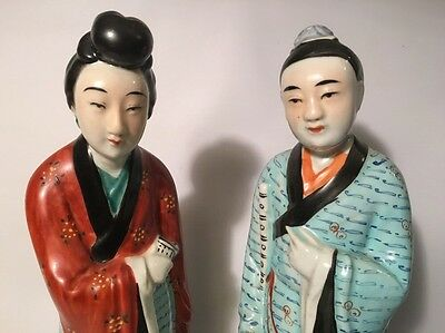 "Pair Large Antique Chinese Famille Rose 12"" Porcelain Figurines Signed 邓生发造"