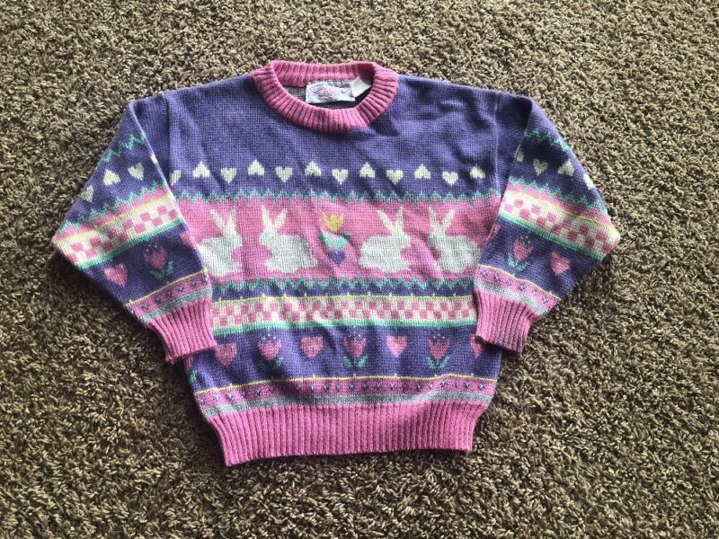 Vintage Girls Bunny Easter Sweater Size 6