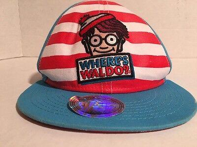 Wheres Waldo Snapback Striped Hat Red White Blue Stripes Flat Snap Back - Waldo Hats